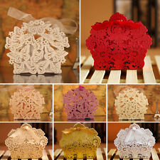 10/50/100PCS Luxury Wedding Favour Sweet Cake Gift Candy Ribbon Boxes Table Deco