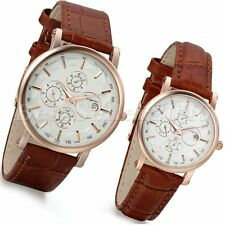 Fashion Quartz Womens Mens Watches Calendar Date Dial Leather Analog Wrist Watch