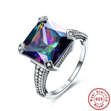 Free Gift Box Gift Rainbow Topaz 100% S925 Sterling Silver Ring Size L½ N½ P½ R½