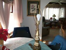 Vintage Brass and Glass Lamp with Filigree Design in Middle Portion of Lamp