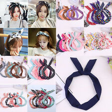 Lovely Women Girl Bow Rabbit Bunny Ear Ribbon Hair Band Wire Headband Wrap Gift