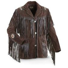Western Style Brown Suede Leather Jacket Fringed