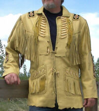 Men Western Indian Suede Leather Jacket, Fringed and Beaded