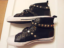 Steve-Madden-Womens-Size-8.5-Shoes-Fashion-Sneaker-High-Top-Studs-Straps-Black