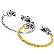 GOLD SILVER Wolf Head Fenrir Viking Bangle Bracelet two Headed Wristband Cosplay
