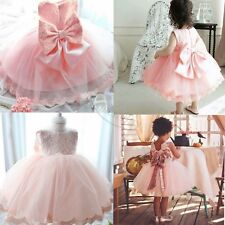 Flower Girl Princess Bow Dress Kids Baby Pageant Party Wedding Sequins Birthday