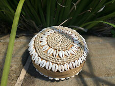 Bamboo, shell and beaded Trinket box natural or whitwash