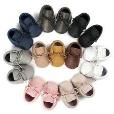 Toddler Baby PU Leather Crib Shoes Infant Tassel Boots Anti-slip Prewalker 0-18M