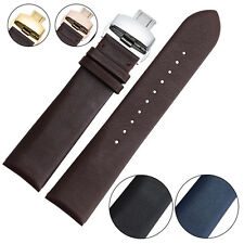 Butterfly Buckle High Quality Genuine Leather Watch Band Strap 18mm 20mm 22mm