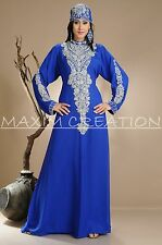 NEW GEORGETTE FANCY BRIDAL NEW ELEGANT CAFTAN ARABIAN ISLAMIC THOBE  DRESS  3835