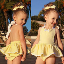 Baby Girls Kids headband Romper Dress Tutu Skirt Outfit Clothes Overall Sunsuit