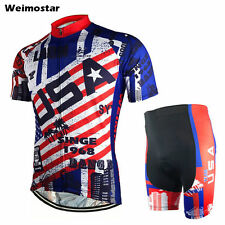 USA Cycling Jerseys Bike Clothing T-shirt Men's Bicycle Top Bib Shorts Set S-5XL