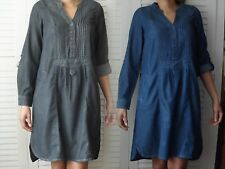 NEW WOMANS LADIES SMART CASUAL 100%COTTON BLUE BLACK MIDWEIGHT SHIRT DRESS TUNIC
