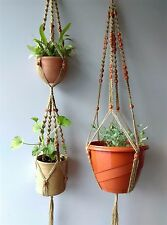 Macrame Set of Plant Hangers Handmade Jute&Beads for Indoor Outdoor Patio
