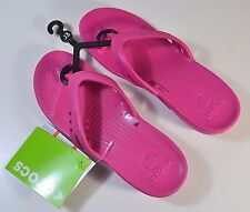 NWT YOUTH GIRL CROCS PINK KADEE FLIP FLOP WEDGE SLIP ON SANDALS SHOES SZ J 3-5