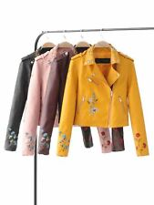 New Womens Embroidered Long Sleeve Faux Leather Motorcycle Biker Jacket Coat SML