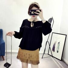 New Womens Rivet Lace Decoration Long Sleeve Pullover Blouse Tops Shirt SML