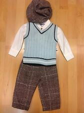 Romany Spanish Boys 4 Piece tank top set Blue Brown by Couche Tot Trousers