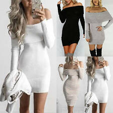 Women Sexy Bodycon Off Shoulder Long Sleeve Party Cocktail Sweater Mini Dress