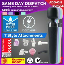 Cordless WATERPROOF Magic Wand Personal Massager Vibrator with Head ATTACHMENTS