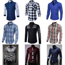 New Mens Fashion Luxury Casual Slim Fit Stylish Long Sleeve Dress Shirts Tops HR