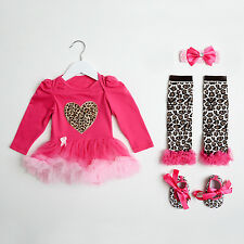 Leopard print tutu romper with matching shoes, leg warmers and headband