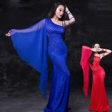 New Arrival Sexy Lace Chiffon Belly Dance Costumes Long Dress  M L