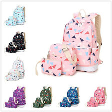 3pcs/set Women Canvas Geometric Printing Backpack School Bags Travel Rucksack