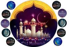 7 inch Eid Mubarik Cake and 10 cup cake topper on Edible Rice Paper