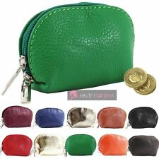 NEW UNISEX REAL LEATHER DOUBLE ZIP COIN PURSE POUCH COLOURS