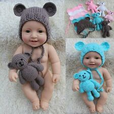 Newborn Baby Crochet Bonnet Hat Teddy Bear Toy Set Photography Prop Outfits 0-6M