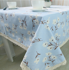 Blue Country Style Bar Coffee Table Cotton Linen Cloth Cover oUSr
