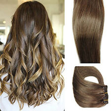 """Clip in Hair Extensions 7pcs 70g Chestnut Brown Straight Remy Human Hair 14-20"""""""