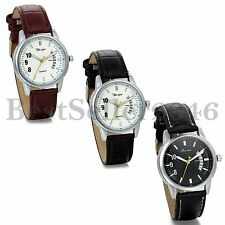 Classic Mens Leather Strap Stainless Steel Date Casual Quartz Sports Wrist Watch