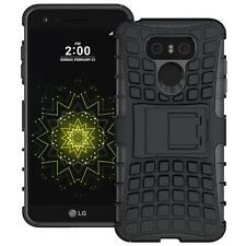 For LG G6 Tough Hybrid Armor Shockproof Protective Box Kickstand Hard Case Black