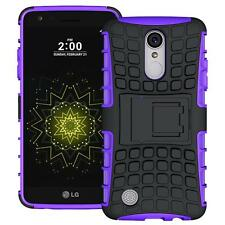 LG LV3/MS210/Aristo Hybrid Armor Shockproof Protective Box Kickstand Case Purple