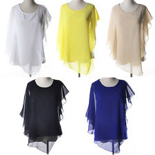 Fashion Women Batwing Sleeve Irregular Chiffon Summer Casual Blouse Top T-shirt