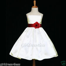 IVORY/BURGUNDY WINE SPAGHETTI STRAPS WEDDING FLOWER GIRL DRESS 18M 2 4 6 8 10 12