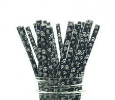 Pirate Skull & Crossbone Paper Straws Spooky Halloween Party Theme 25 Or 50 pcs