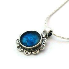 Blue Roman Glass Pendant, 925 Silver Flower Pendant, Roman Glass Flower Pendant