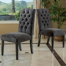 Set of 2 Dark Grey Tufted Dining Room Chairs Luxury Padded Seat Fabric Pair Gray