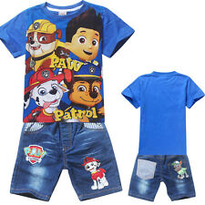 Summer Lovely Paw Patrol Kids Boys Short Sleeve T-shirt Tops Casual Clothing Set