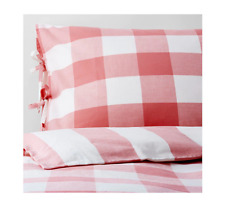 Ikea EMMIE RUTA Duvet Cover & 4 Pillow cases Bed Set Bedding 3 sizes Pink White