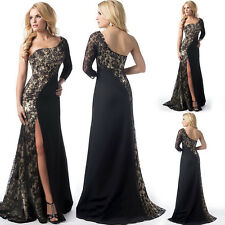 Sexy Women One Shoulder Lace Split Evening Long Dress Party Cocktail Formal Gown