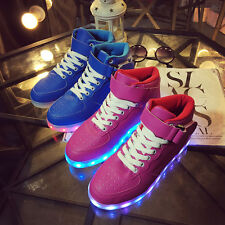 Unisex USB LED Light Lace Up High Top Sportswear Sneaker Luminous Casual Shoes