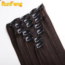 """14""""-20"""" Indian Straight Silky 7PCS Clip in Extension Remy Real Human Hair #2 HOT"""