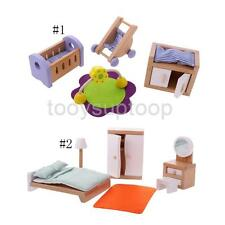 Wooden Furniture Bedroom Set Doll House Family Miniature for Kids Xmas Toys