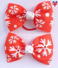 Red & White Snowflake Diamante Christmas Hair Bow Alligator Clip Elastic Bobble