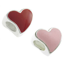 Sterling Silver Tilted Red Enamel Heart Love Bead For European Charm Bracelet