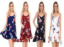 NEW WOMENS LADIES CASUAL SUMMER FLORAL PRINT CAMI SWING DRESS TOP PLUS SIZE 8-26